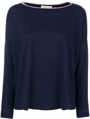 Chiara Bertani stripe trim sweater