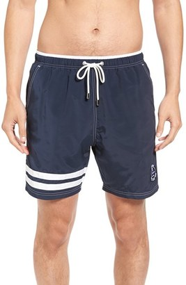Men's Paul & Shark Navy Stripe Swim Trunks $235 thestylecure.com