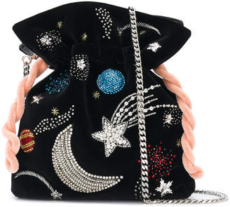 Les Petits Joueurs beaded moon and comet embroidered drawstring satchel