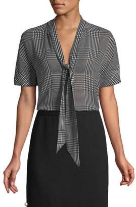 Lela Rose Short-Sleeve Tie-Neck Plaid Chiffon Blouse