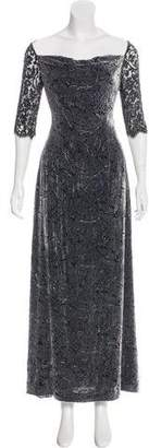 Carmen Marc Valvo Embellished Devoré Dress