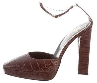 Roger Vivier Alligator Ankle Strap Pumps