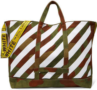 Off-White - Printed Canvas Tote - Army green $475 thestylecure.com