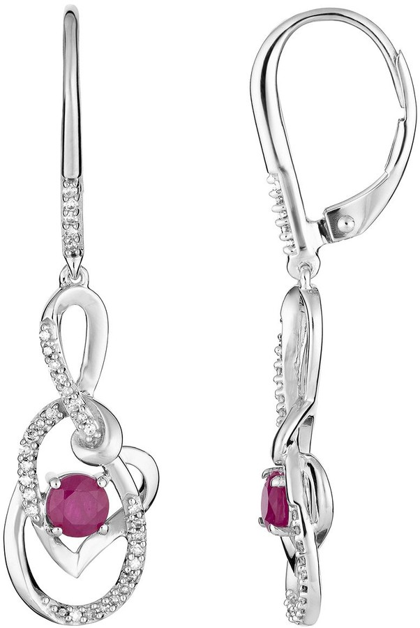10k White Gold Ruby & 1/5 Carat T.W. Diamond Earrings Heart Drop Earrings