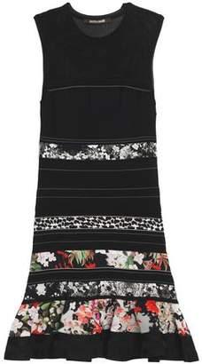 Roberto Cavalli Paneled Open-Knit And Floral-Print Satin Mini Dress