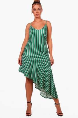 boohoo Plus Stripe Flute Hem Midi Dress