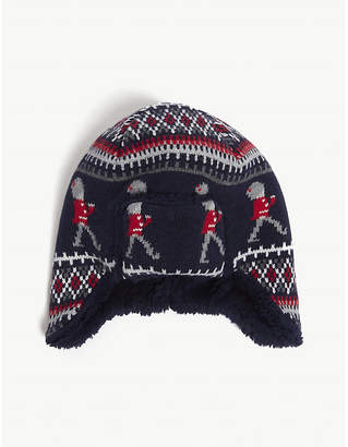 903fb28e9 The Little White Company Knitted cotton trapper hat