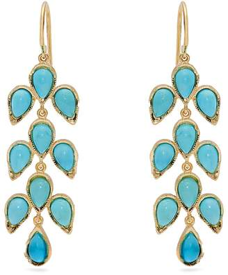 Irene Neuwirth 18kt gold & turquoise leaf drop earrings