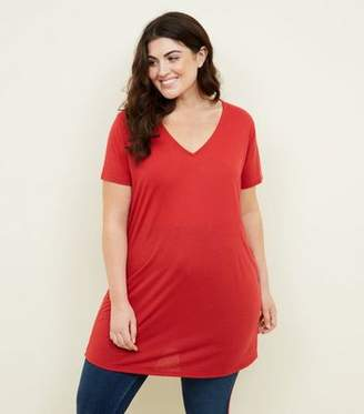 New Look Curves Dark Red Textured Oversized T-Shirt