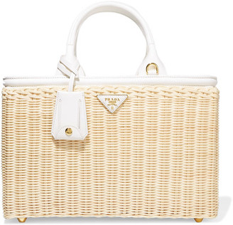 Prada - Midollino Large Leather-trimmed Canvas And Wicker Tote - Beige $1,600 thestylecure.com