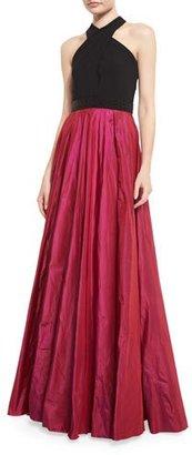 Carmen Marc Valvo Sleeveless Beaded Jersey & Taffeta Ball Gown, Black/Magenta $1,295 thestylecure.com