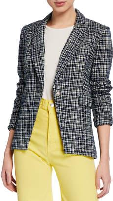 Veronica Beard Crosshatch One-Button Cutaway Jacket