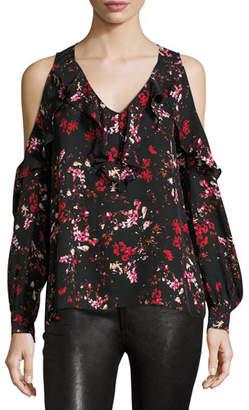 Parker Roland Floral-Print Cold-Shoulder Blouse, Canna $220 thestylecure.com