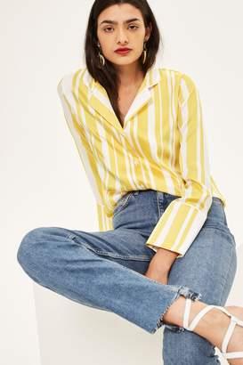 Topshop Womens Mid Blue Step Hem Straight Jeans - Mid Stone