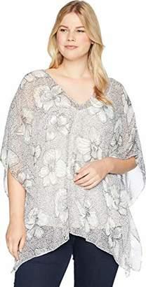 NYDJ Women's Plus Size Chiffon Caftan Popover