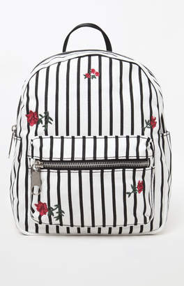 La Hearts Canvas Striped Mini Backpack