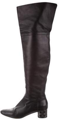 Christian Dior Round-Toe Leather Over-The-Knee Boots