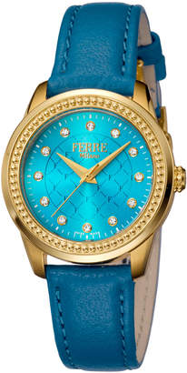Ferré Milano Women's 32mm Stainless Steel Watch with Leather Strap, Golden/Teal