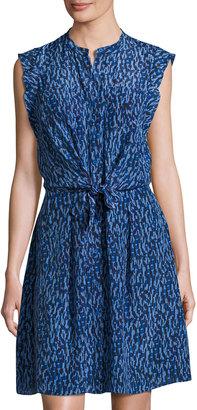 Rebecca Taylor Batik Mirage Twist-Front Silk Dress, Blue $279 thestylecure.com