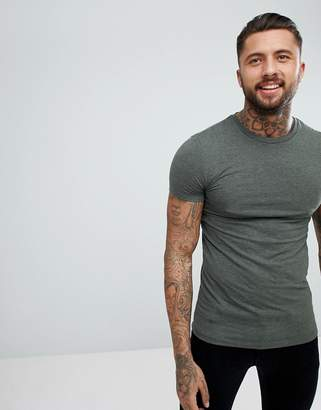 Asos DESIGN muscle fit t-shirt with crew neck in green
