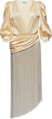 Magda Butrym Wels Asymmetric Fringed Silk-Satin Midi Dress