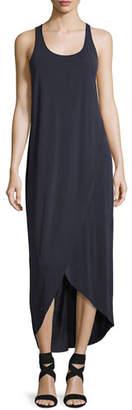 Nic+Zoe Boardwalk Sleeveless Faux-Wrap Knit Dress, Washed Midnight, Petite
