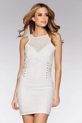 da3c526c381 Quiz Black Mesh Lace Up Side Bodycon Dress