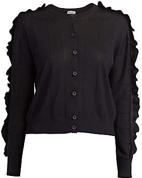 Kenzo Women's Short Ruffle Wool Silk Cardigan