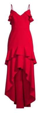 Aidan Mattox Women's Tiered Ruffle Crepe Gown - Red - Size 0