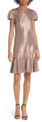 Alice + Olivia Imani Ruffle Hem Metallic Textured Dress