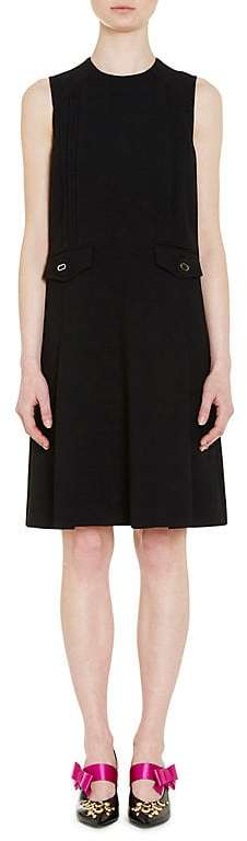 Prada Women's Pintuck-Pleated Wool Sheath Dress