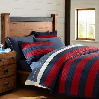 Pottery Barn Teen Rugby Stripe Reversible Quilt, Full/Queen, Navy/Red