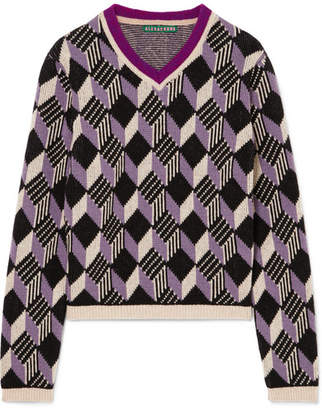 ALEXACHUNG School Boy Intarsia Wool Sweater - Purple