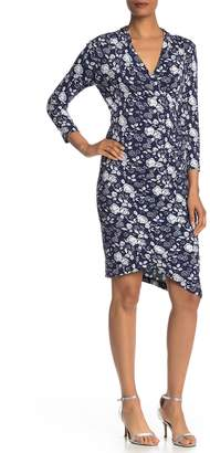 Nicole Miller 3/4 Sleeve Printed Surplice Neck Dress