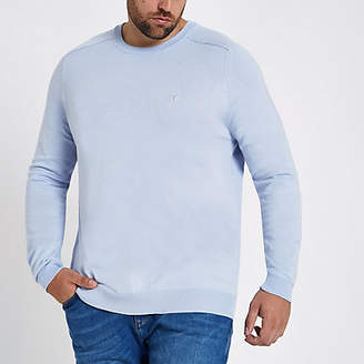 River Island Big and Tall blue slim fit crew neck sweater