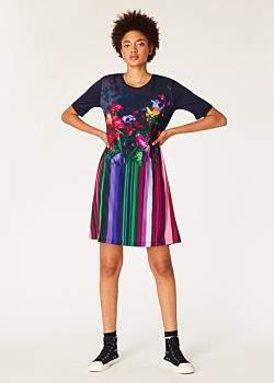 Women's Dark Navy 'Floral Stripe' Photo Print Jersey Dress
