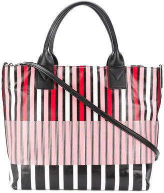 Pinko striped logo tote bag