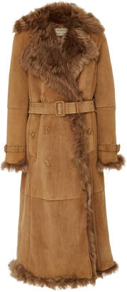Burberry Belted Double-Breasted Shearling Coat