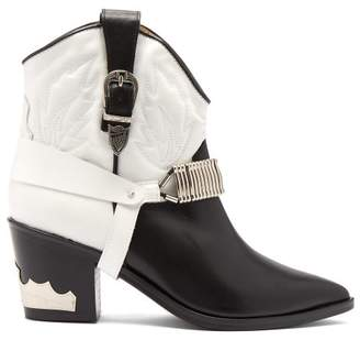 Toga Western Harness Leather Ankle Boots - Womens - Black White