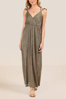 francesca's Kiera Ruffle Sleeve Lace Maxi Dress - Olive