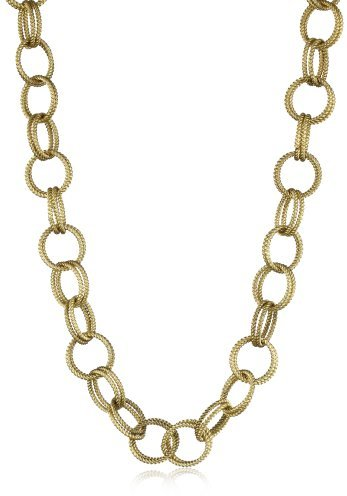 Betsey Johnson Gold-Tone Textured Chain Link Long Necklace