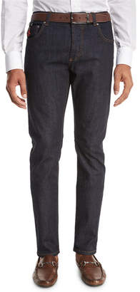 Isaia Light Wash Straight-Leg Jeans, Blue