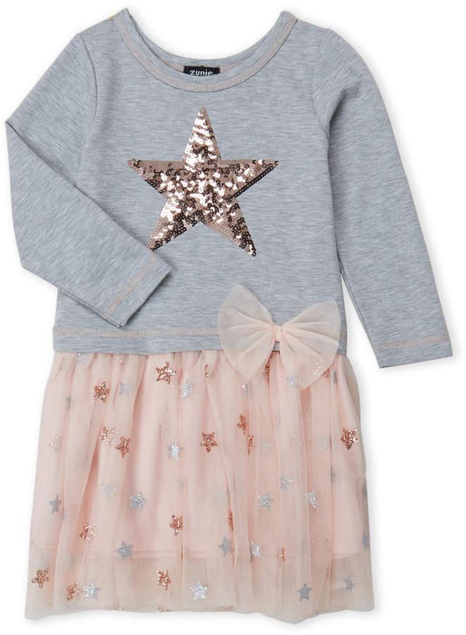 Zunie (Girls 4-6x) 2fer Sequin Star Tutu Dress