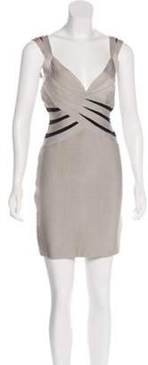 Herve Leger Sleeveless Bandage Dress Grey Sleeveless Bandage Dress
