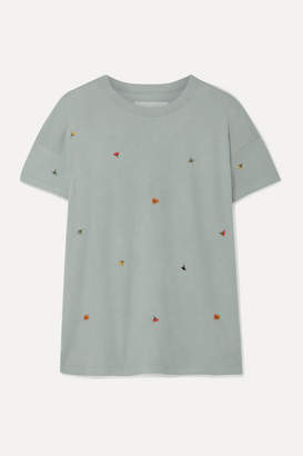 The Great The Boxy Crew Embroidered Cotton-jersey T-shirt - Gray green