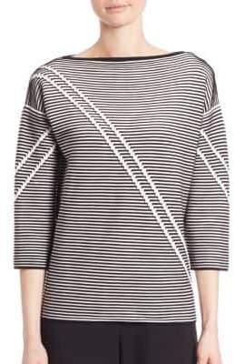 Lafayette 148 New York Two-Tone Crepe Jacquard Sweater