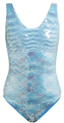 Missoni Mare - Sequinned Variegated Knit Swimsuit - Womens - Light Blue
