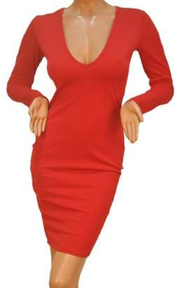 Walmart Sale Prices Sexy Women Bandage Bodycon Long Sleeve Evening Party Red Lady Slim Fit Pencil Dress Deep V Collar Dress