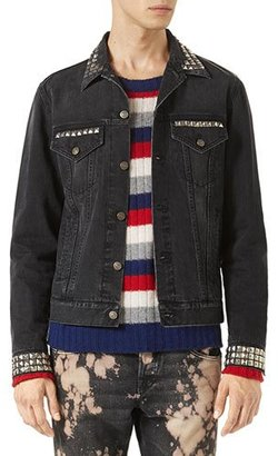 Gucci Denim Jacket w/Embroideries, Black Stone Wash $2,490 thestylecure.com