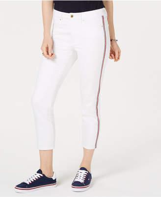 Tommy Hilfiger Varsity-Stripe Cropped Skinny Jeans